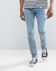 Cheap Monday Tight Skinny Jeans Spear Blue Knee Rip Spear Blue