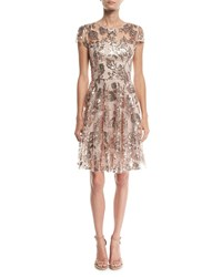 Milly Meg Sequin Embroidered Tulle Dress Pink Gold