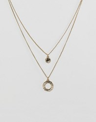Pieces Double Layer Necklace Gold
