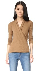Enza Costa Ballet Wrap Sweater Camel