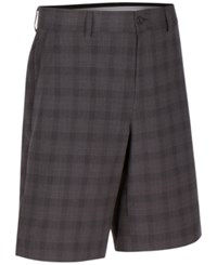 Greg Norman For Tasso Elba Men's Classic Fit Plaid Performance Shorts Only At Macy's Charcoal