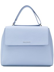Orciani Soft Flap Tote Blue