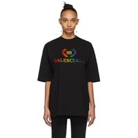 Balenciaga Black Oversized Rainbow 'Bb' T Shirt