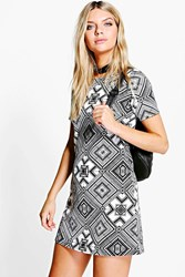 Boohoo Printed Shift Dress Cream