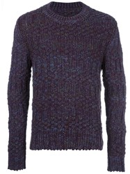 Maison Martin Margiela Speckled Chunky Knit Jumper Pink Purple