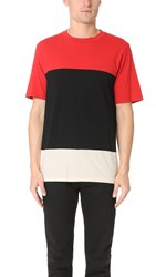 Rag And Bone Colorblock Precision Tee Fiery Red Black