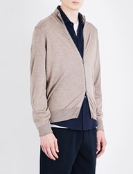 Brunello Cucinelli Zip Up Wool And Cashmere Blend Cardigan Brown