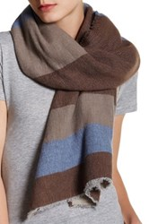 Italca Oxford Yarn Dyed Cashmere Blend Scarf Brown