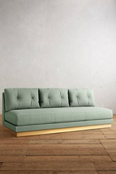 Anthropologie Basketweave Linen Cardiff Sofa Mint
