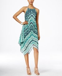 Inc International Concepts Printed Handkerchief Hem Halter Dress Only At Macy's Teal Glow