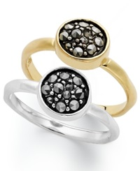 Genevieve And Grace Sterling Silver And 18K Gold Over Sterling Silver Ring Set Marcasite 2 Stone Rings