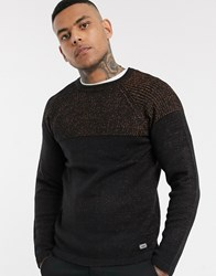 Only And Sons Knitted Jumper In Black With Colour Block Panel