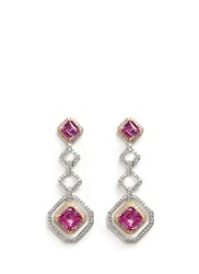 Cz By Kenneth Jay Lane 18K Gold Plated Rim Asscher Cut Cubic Zirconia Earrings Pink Multi Colour