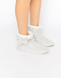 Totes Knitted Bootie Slippers Grey Lurex