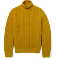 Alfred Dunhill Ribbed Knit Rollneck Wool Sweater Yellow