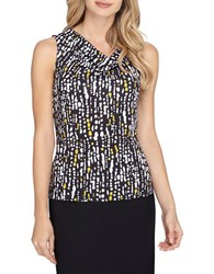 Tahari By Arthur S. Levine Plus Printed Sleeveless Knit Top Black White