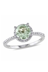 Sterling Silver Round Green Amethyst And Diamond Trim Ring