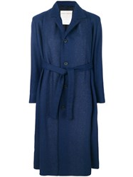 Stephan Schneider Single Breasted Belted Coat Wool S Blue