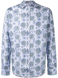 Etro Paisley Print Shirt Men Cotton Xl Blue