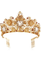 Dolce And Gabbana Gold Tone Swarovski Crystal Crown