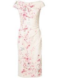 Monique Lhuillier Floral Print Dress White