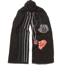 Paul Smith Embroidered Wool Scarf Black