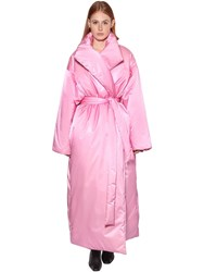Balenciaga Long Belted Nylon Satin Puffer Coat Pink