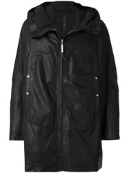 Isaac Sellam Experience Hooded Fisherman Coat Men Cotton Calf Leather Acetate Duck Feathers L Black