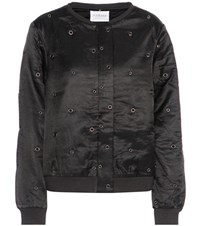 Velvet Viviette Cotton And Silk Satin Bomber Jacket Black