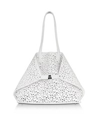 Akris Ai Medium White Laser Cut Leather Tote Bag W Inner Canvas Tote