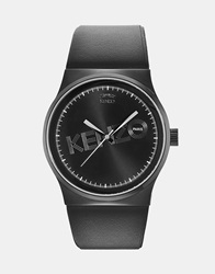Kenzo Watch With Leather Strap Black