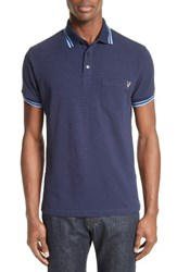 Versace Men's Jeans Embroidered Pique Polo Navy
