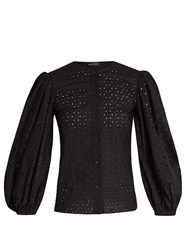 Anna October Broderie Anglaise Cotton Blouse Black