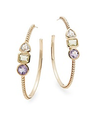 Stephen Dweck Clear Quartz Lemon Quartz Amethyst And Bronze Hoop Earrings 2.5