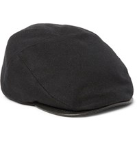 Mccaffrey Reflective And Leather Trimmed Wool Felt Flat Cap Black