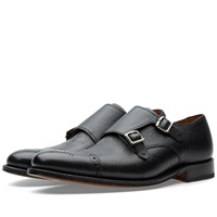 Grenson Ellery Double Strap Monk Shoe Black Grain Leather