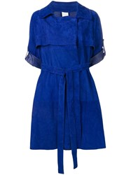 Giorgio Brato Short Sleeved Trench Coat Blue