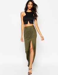 Asos Maxi Skirt With Ruched Side And Side Split Khaki