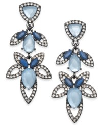 Inc International Concepts Hematite Tone Pave And Blue Stone Openwork Drop Earrings Created For Macy's