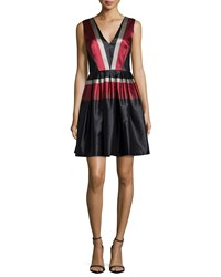 Zac Posen Sleeveless Striped Fit And Flare Dress Black Red Taupe Black Red Taupe
