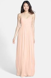 Women's Donna Morgan 'Laura' Ruched Sweetheart Silk Chiffon Gown Chantilly