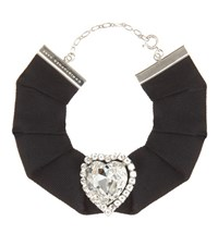 Christopher Kane Love Heart Swarovski Crystal Embellished Grosgrain Choker Black
