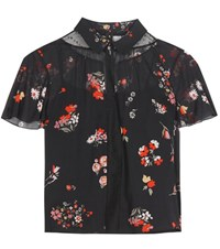 Red Valentino Printed Silk Blend Blouse Black