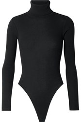 Re Done Ribbed Stretch Cotton Jersey Turtleneck Thong Bodysuit Black