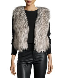 Neiman Marcus Faux Fur Collarless Cropped Vest Brown