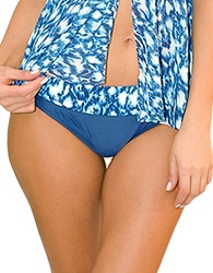 Blush Lingerie Wild Blue Print And Solid Swim Bottom