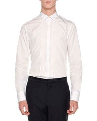 Lanvin Irregular Pleats Tuxedo Shirt White