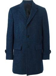 Z Zegna Single Breasted Short Coat Blue