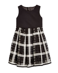 Milly Minis Embroidered Organza Pleated Dress Black White Size 8 14