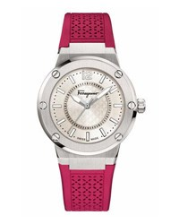 Salvatore Ferragamo 33Mm F 80 Watch W Rubber Strap Hot Pink